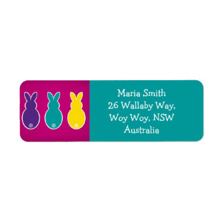 Bright Easter Bunny Silhouette Return Address Label