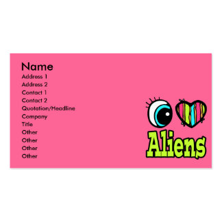 Bright Eye Heart I Love Aliens Pack Of Standard Business Cards
