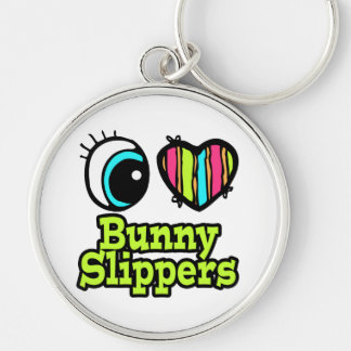 Bright Eye Heart I Love Bunny Slippers Silver-Colored Round Key Ring