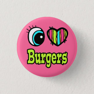Bright Eye Heart I Love Burgers 3 Cm Round Badge