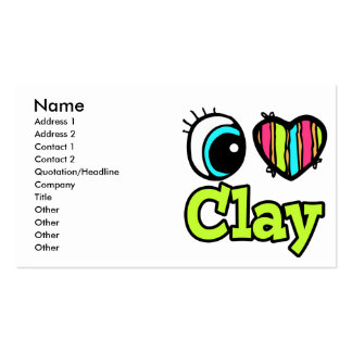 Bright Eye Heart I Love Clay Double-Sided Standard Business Cards (Pack Of 100)