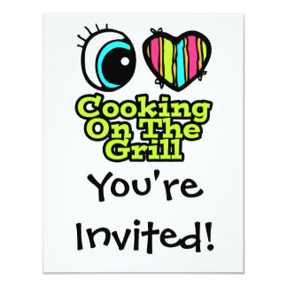 Bright Eye Heart I Love Cooking on the Grill 11 Cm X 14 Cm Invitation Card