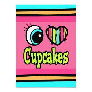 Bright Eye Heart I Love Cupcakes 11 Cm X 16 Cm Invitation Card