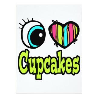 Bright Eye Heart I Love Cupcakes 6.5x8.75 Paper Invitation Card