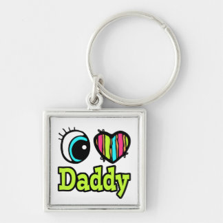 Bright Eye Heart I Love Daddy Silver-Colored Square Key Ring