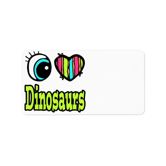 Bright Eye Heart I Love Dinosaurs Address Label