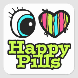 Bright Eye Heart I Love Happy Pills Square Sticker
