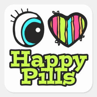 Bright Eye Heart I Love Happy Pills Square Sticker