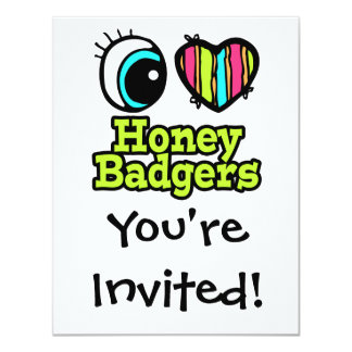 Bright Eye Heart I Love Honey Badgers 11 Cm X 14 Cm Invitation Card