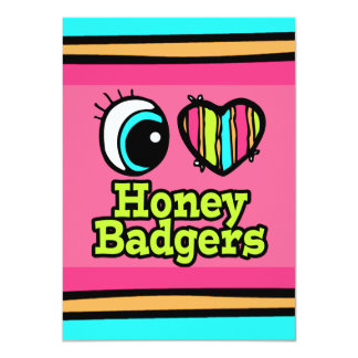 Bright Eye Heart I Love Honey Badgers 11 Cm X 16 Cm Invitation Card