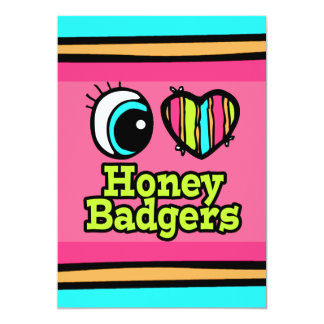 Bright Eye Heart I Love Honey Badgers 13 Cm X 18 Cm Invitation Card