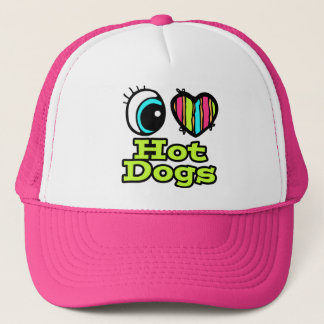 Bright Eye Heart I Love Hot Dogs Trucker Hat