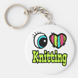 Bright Eye Heart I Love Knitting Basic Round Button Key Ring