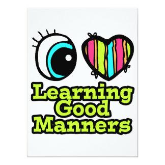 Bright Eye Heart I Love Learning Good Manners 17 Cm X 22 Cm Invitation Card