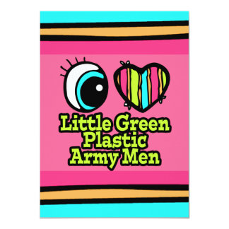 Bright Eye Heart I Love Little Green Plastic Army 11 Cm X 16 Cm Invitation Card