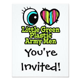 "Bright Eye Heart I Love Little Green Plastic Army 4.25"" X 5.5"" Invitation Card"