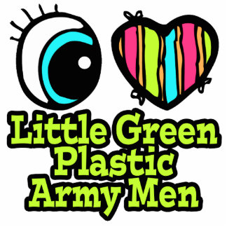 Bright Eye Heart I Love Little Green Plastic Army Photo Cut Outs