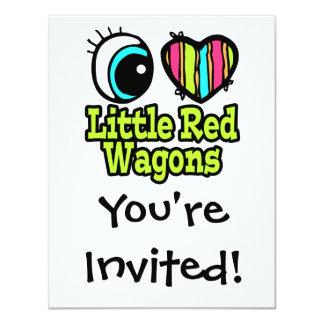 "Bright Eye Heart I Love Little Red Wagons 4.25"" X 5.5"" Invitation Card"