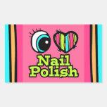 Bright Eye Heart I Love Nail Polish Rectangular Stickers