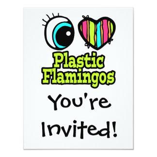 "Bright Eye Heart I Love Plastic Flamingos 4.25"" X 5.5"" Invitation Card"