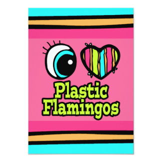 "Bright Eye Heart I Love Plastic Flamingos 4.5"" X 6.25"" Invitation Card"