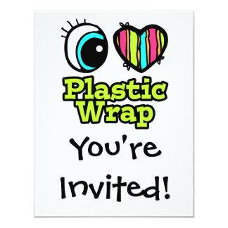"Bright Eye Heart I Love Plastic Wrap 4.25"" X 5.5"" Invitation Card"