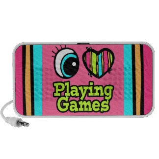 Bright Eye Heart I Love Playing Games Laptop Speakers