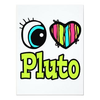 Bright Eye Heart I Love Pluto Custom Invitations