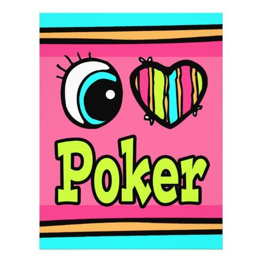 Bright Eye Heart I Love Poker Flyer Design