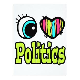 Bright Eye Heart I Love Politics 17 Cm X 22 Cm Invitation Card