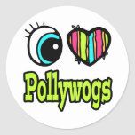 Bright Eye Heart I Love Pollywogs Round Stickers