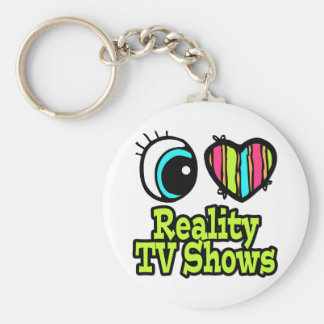 Bright Eye Heart I Love Reality TV Shows Basic Round Button Key Ring