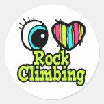 Bright Eye Heart I Love Rock Climbing Round Sticker