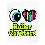 Bright Eye Heart I Love Roller Coasters Personalised Invites