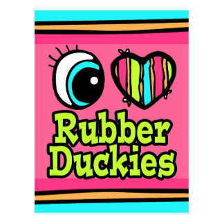 Bright Eye Heart I Love Ruber Duckies Postcard