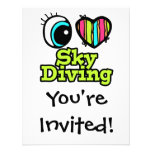Bright Eye Heart I Love Skydiving Personalized Announcement