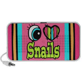 Bright Eye Heart I Love Snails Laptop Speakers