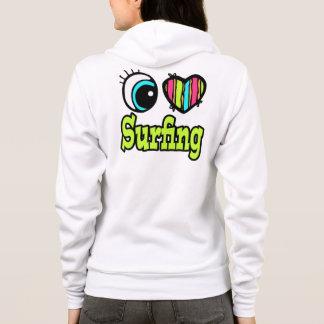 Bright Eye Heart I Love Surfing Hoodie