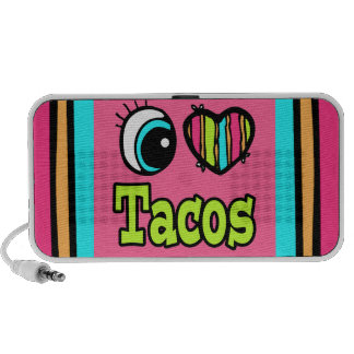 Bright Eye Heart I Love Tacos iPhone Speakers