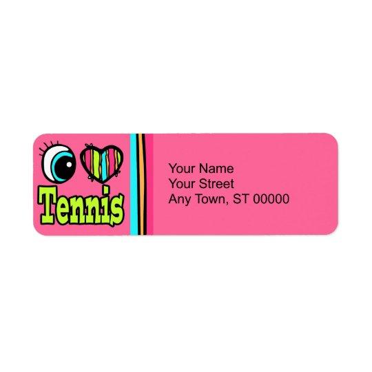 Bright Eye Heart I Love Tennis Return Address Label