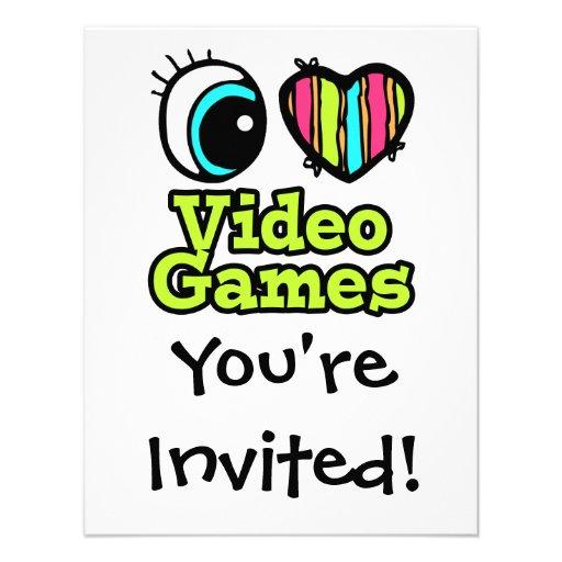 Bright Eye Heart I Love Video Games Invitations