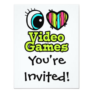 "Bright Eye Heart I Love Video Games 4.25"" X 5.5"" Invitation Card"
