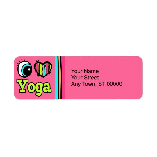 Bright Eye Heart I Love Yoga Return Address Label