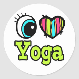 Bright Eye Heart I Love Yoga Round Sticker