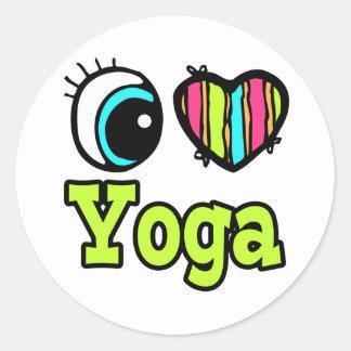 Bright Eye Heart I Love Yoga Round Sticker