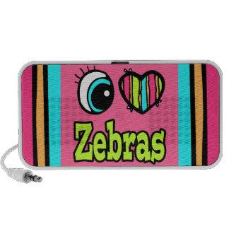 Bright Eye Heart I Love Zebras Speakers