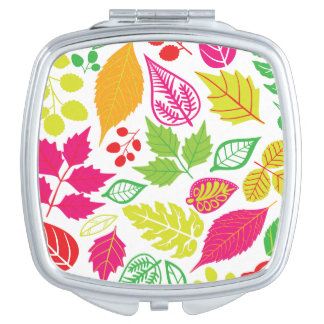 Bright Fall Leaves Square Compact Mirror