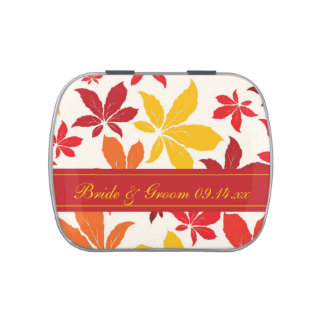 Bright Fall Leaves Wedding Favor Jelly Belly Tins