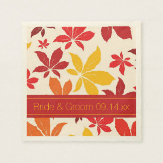 Bright Fall Leaves Wedding Paper Napkin