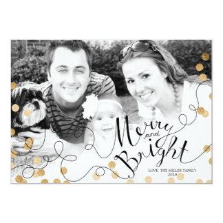 Bright Faux Gold Confetti Custom Photo Xmas Card